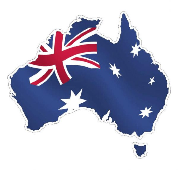 Australia Map With Flag.Australia Map Flag Decal Sticker